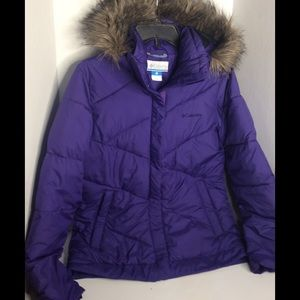 Columbia Puffer Jacket Purple with detachable hood